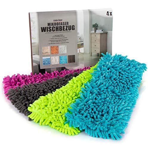 com-four® 4X Ersatz-Bezug für Bodenwischer, Wischbezug aus Microfaser Chenille zur gründlichen Reinigung Ihrer Wohnfläche (anthrazit/blau/pink/grün)