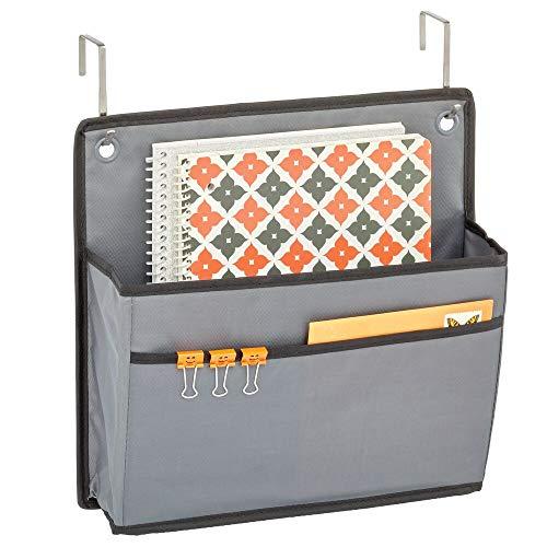 mDesign Organizador colgante para puerta – Práctico sistema de almacenaje en tela – Colgador de puerta con dos bolsillos – Organizador de escritorio y oficina – gris oscuro/negro