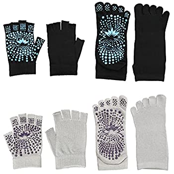 Iconikal Non-Slip Grip Yoga Traction 2 Pairs of Fingerless Gloves and 2 Pairs of Toe Socks Black Gray