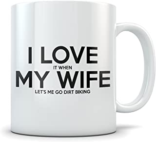Husband Dirt Biking Gift Idea - Funny Dirtbike Coffee Mug for Married or Engaged Men - Motocross Gag Gift for Him from Wife, Bride, Stepmom, Daughter, Son, Friends, or Groomsmen
