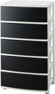 アイリスオーヤマ チェスト 収納ケース ワイド インテリア 5段 幅約53×奥行約38×高さ約99.5㎝ ブラック/ホワイト (コロネシリーズ)
