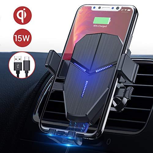 Avolare Wireless Charger Auto, 15W handyhalterung Auto mit ladefunktion Kabelloses Auto Ladegerät Qi ladestation Auto Schnellladung für iPhone SE 11 Pro/Xs Max/XR/XS/X/8 Galaxy S20/S10/S10+/S9/S8