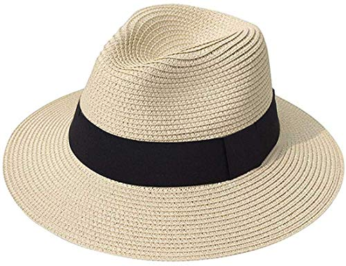 DRESHOW Women Wide Brim Straw Panama Roll up Hat Fedora Beach Sun Hat UPF...