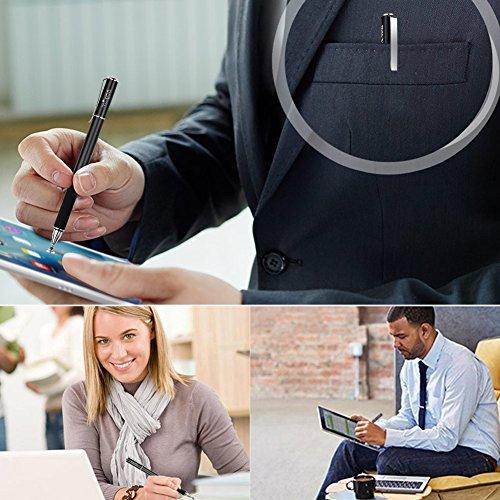『Mixoo タッチペン スマートフォン iphone スタイラスペン ipad pro Android イラスト タブレット用 スマホ ペン ディスク 交換用ペン先3個 仕事 ゲーム用 stylus pen(ブラック)』の5枚目の画像