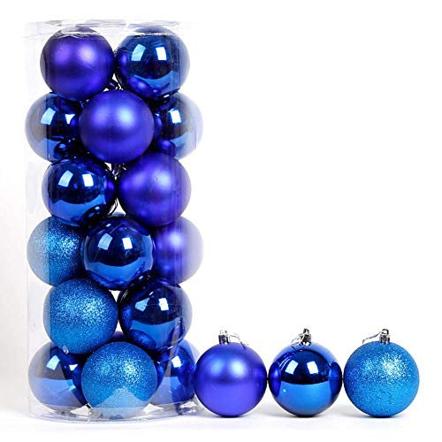LIUSHI 24ct Christmas Ball Ornaments Shatterproof Christmas Decorations Tree Balls Small for Holiday Wedding Party Decoration-Blue 6cm(2inch)