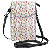 Women Small Cell Phone Purse Crossbody,Tulips And Poppy Flowers Romantic Arrangement Valentines Day Themed Illustration
