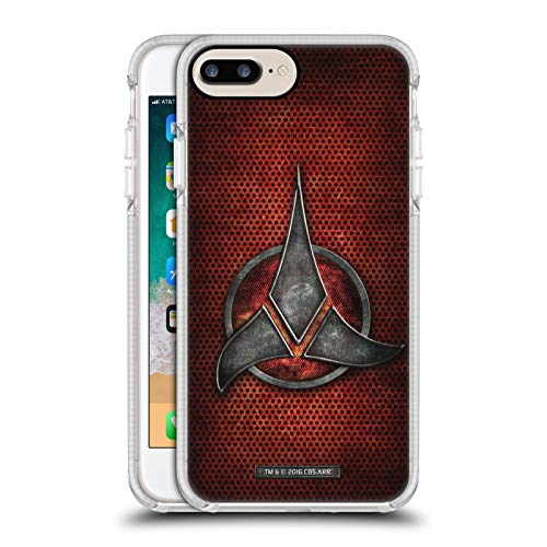 Head Case Designs Officially Licensed Star Trek Empire Klingon Badges White Shockproof Gel Bumper Case Compatible With Apple iPhone 7 Plus / iPhone 8 Plus