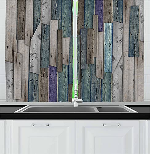 """Ambesonne Rustic Kitchen Curtains, Image of Blue Grey Grunge Wood Planks Barn House Door Nails Country Life Theme Print, Window Drapes 2 Panel Set for Kitchen Cafe Decor, 55"""" X 39"""", Teal Purple"""