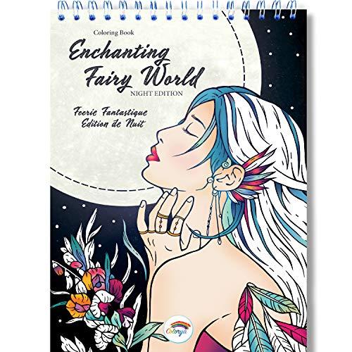 Libro Colorear Adultos de Colorya - El Encantador Mundo de Las Hadas - Espiralado - Papel A4 a Una Cara Artístico Premium - Sin Manchas de Color - Dibujos Para Colorear Adultos - Libros de pintar