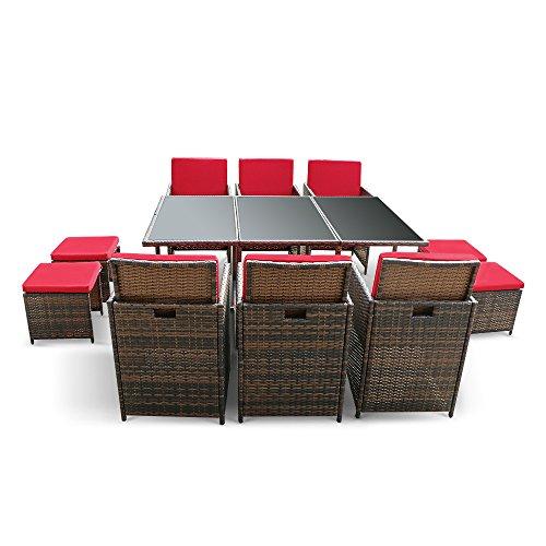 IKAYAA 11pcs/10-seater Rattan Patio Garden Dining Set Muebles acolchados Outdoor Mesa De Comedor Silla presente Juego Iron Frame