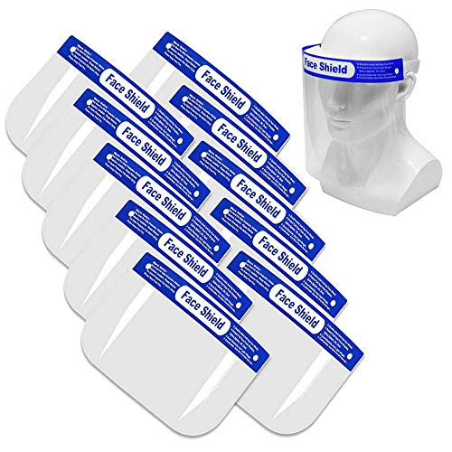 Safety Face Shield, All-Round Protection Cap with Clear Wide Visor Spitting Anti-Fog Lens, Lightweight Transparent Shield with Adjustable Elastic Band for Men Women 5 Pack