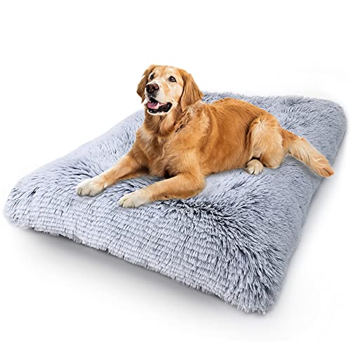 Vonabem Dog Bed Crate Pad, Deluxe Plush Anti-Slip Pet Beds, Washable Dog Crate Mat for Large Medium Small Dogs and Cats, Fulffy Kennel Pad 36 inch