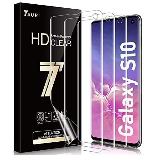 TAURI 3 Pezzi Pellicola Protettiva per Samsung Galaxy S10 Adatta a Sensore Ultrasonico Compatibile con la Custodia Senza Bolle HD Trasparente Morbido TPU Schermo Protettivo