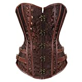 Grebrafan Sexy Steampunk Jacquard Corset Faux Leather Studded Overbust Bustier (UK(22-24) 6XL, Brown)