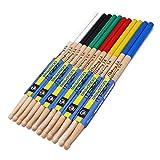 6 Pares 5A Baquetas Antideslizante Drumsticks de Madera Baquetas de Arce Accesorios de Batería para Estudiantes, Adultos, Principiantes y Niños 6 Colores