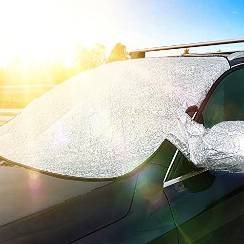 JTENG Copertura Parabrezza Auto, Protezione Parabrezza Auto Magnetic con Bordo Riflettente Ice Protection Anti UV Antighiaccio Telo, Adatto la Maggior Parte dei Veicoli (186 x 120cm)