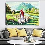 YuFeng_Art_Inn Jesus Christ Holy Lamb-pintura Al óleo Sobre Lienzo, Pintura Religiosa, Carteles E Impresiones, Decoración Para El Hogar Y La Sala De Estar (Ready to hang,8x12inch)