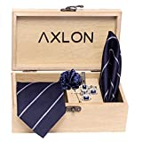 Axlon Men's Micro Polyester Necktie Set with Pocket Square, Lapel Pin and Cufflinks (Blue, Free Size)