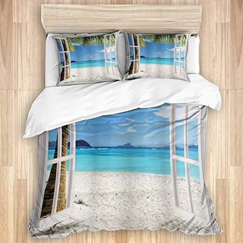 Parure de lit Set de Housse de Couette,Palmiers tropicaux turquoise sur la plage de l'océan de l'île à travers des fenêtres en bois blanc,1 Drap de lit 260x240 + 2 Taies d'Oreillers 80x50,Super King