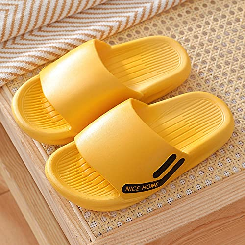 SUNXC Antideslizante Zapatillas de Baño Casa Hombre Mujer, Baño apresurando Pareja fría Zapatillas de plástico-Mujer Amarilla_44-45,Sandalias Mujer Hombre Bañarse Verano Interior Zapatillas