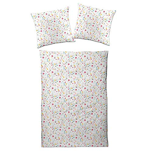 ESTELLA Bettwäsche Flowers   Azalee   135x200 + 80x80 cm   bügelfreie Interlock-Jersey-Qualität   Kinderbettwäsche   ideale Vier-Jahreszeiten-Bettwäsche   100% Baumwolle