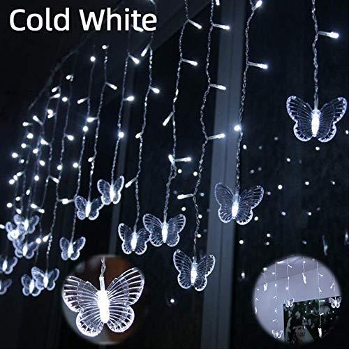 No brand 220 V LED Kerstmis vlinder slinger lichtsnoer gordijn lichten Outdoor Party nieuwe jaren decoratie 4 Mt x 0,65 Mt Eu-stekker koud wit