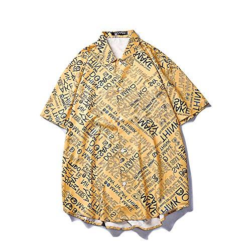 Camisa de Hombre de Verano Retro Personalidad Graffiti Letra Impresa Camisa de Manga Corta Suelta Casual...