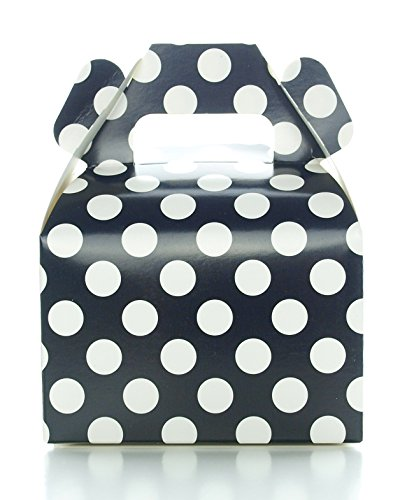 Party Favor Candy Boxes, Black Polka Dot (12 Pack) - Black Candy Buffet Treat Boxes, Wedding Table Decorations, Small Black Birthday Gift Boxes