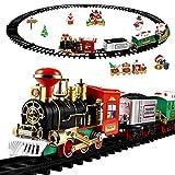 jojofuny Clásico juego de tren de Navidad, juguete de tren eléctrico, funciona con pilas, juguete pequeño de tren ligero y sonido