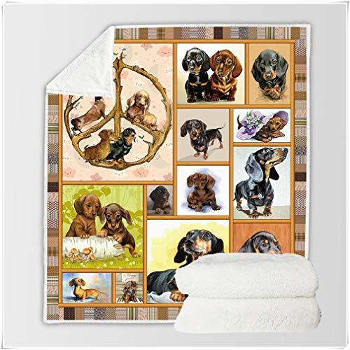 WFF-chair Manta de VellóN Sherpa con Estampado 3D, Manta de Felpa Suave y CáLida, Happy Dachshund Family Photo Printing, Manta de Cama, para NiñOs Adolescentes (Size : Throw(50'x 60'))