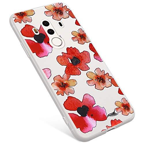 Uposao Coque Compatible avec Huawei Mate 10 Pro Coque Matte Etui Premium Semi Transparent Motif Rose Fleur Soft TPU Silicone Coque Anti-Choc Bumper Ultra Mince Slim Case Coque Huawei Mate 10 Pro