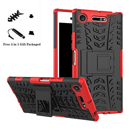 LiuShan Sony XZ1 Funda, Heavy Duty Silicona Híbrida Rugged Armor Soporte Cáscara de Cubierta Protectora de Doble Capa Caso para Sony Xperia XZ1 Smartphone,Rojo