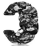 JIELIELE 20mm 22mm Watch Band, Fabric Elastic Scrunchies Women Watch Bands Quick Release Pattern Cute Replacement Band for Women (SilverFlower)