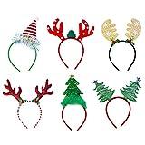 Pveath Lot de 6 Bandeaux de Noël Serre-tête de Noël, père Noël, Bonhomme de Neige, Renne, Bande de Cheveux pour cerceaux de Sapin de Noël, Assortiment de Chapeaux pour la décoration de fête de Noël