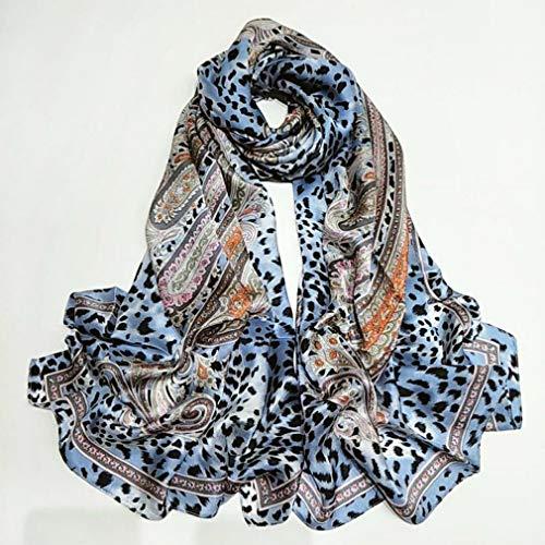 Luipaard print Zijden sjaal Dames Dames 100% zijde Sjaals Klassiek Mode Zacht Zijdezacht Glad Warm Anti allergie Lange sjaal Kaap voor Party Meisje Geschenk, 185 x 65 cm,Blue