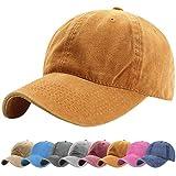 Tuopuda Gorra de Béisbol Classic Unisex Ajustable Washed Teñido Gorras de Béisbol de Algodón Sombrero de Deportes al Aire Libre (Amarillo)