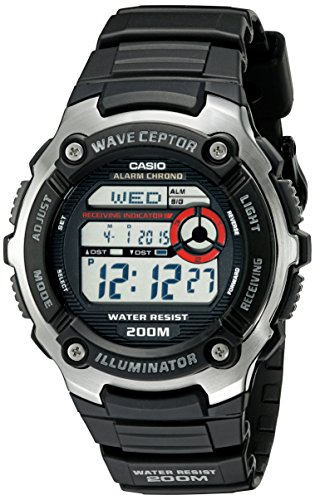 Casio Wave Ceptor Quartz Watch with Resin Strap, Black, 16 (Model: EAW-WV-200A-1AV)