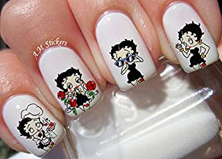 Betty Boop Water Nail Art Transfers Stickers Decals - Set of 36