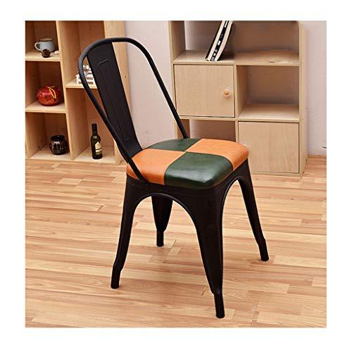 QZYQ Silla Comedor butacas sillas Salon Silla de Comedor de Hierro Forjado Retro Silla Silla de café de Madera Maciza (Size : A-3)