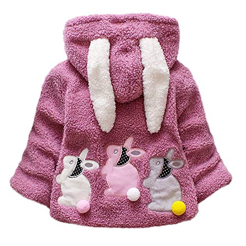 FeiliandaJJ Baby Mädchen Mit Kapuze Fleece Jacke Säugling Kinder Winter Cute Kaninchenohr Zipper Dicke Warme Coat Mantel Outerwear (110 (2~3Jahre alt), Lila)