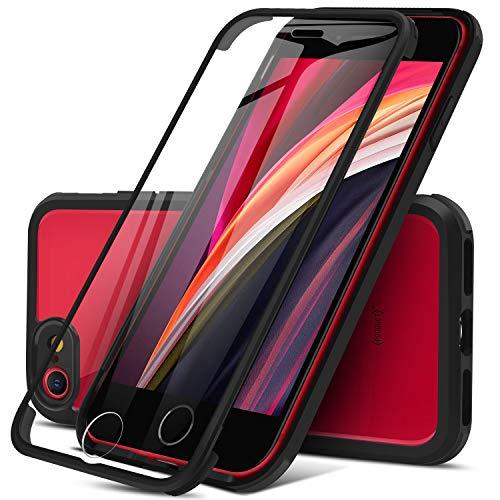 Dosnto Funda Transparente para iPhone SE 2020 8 7 (4.7  ) Carcasa 360 Grados Protección con Protector de Pantalla Incorporado, [Protección contra Caídas Reforzada] [Militar Antichoque], Negro