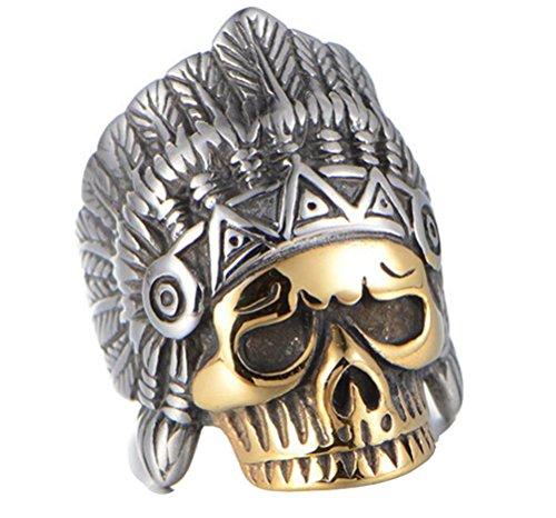 HIJONES Hombre Acero Inoxidable Anillo De Cráneo Indio Vintage con El Jefe De Oro Tocado Tamaño 29