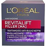 L'Oréal Paris Crema Viso Notte Revitalift Filler, Azione Antirughe Rivolumizzante con Aci...