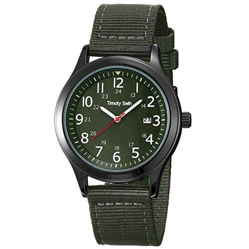 Timoty Seth Herren Teenager 3 ATM wasserdichte Military Army Tactical Field Uhren, Kalenderdatum, Casual Quartz, Sport Armbanduhr mit Nylon/Lederarmband (Armeegrün)