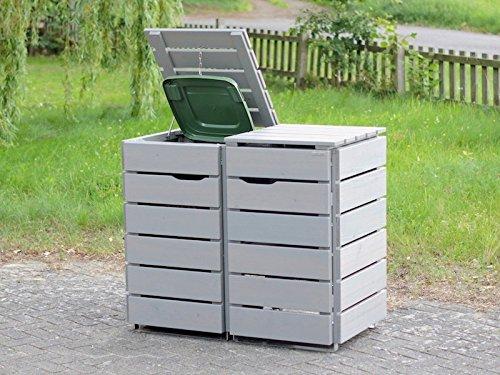 2er Mülltonnenbox / Mülltonnenverkleidung 120 L Holz, Transparent Geölt Grau - 2