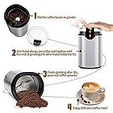 Elektrische Kaffeemühle, morpilot Edelstahl Coffee Grinder, Mühle für Kaffeebohnen Gewürz Getreide Nüsse, mit Reinigungsbürste, Edelstahlmesser(150W, 70g Fassungsvermögen) - 3