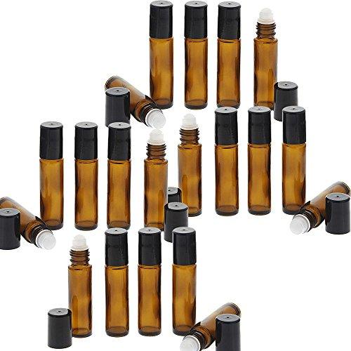 Braunglas Deostick 10ml, Kosmetex leere Roll-on-Flasche mit Deo-Roller zum Selbst befüllen, 20 Stück
