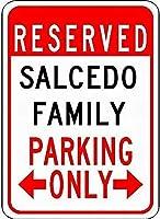 金属サインSalcedo家族駐車場ノベルティ錫通り徴候