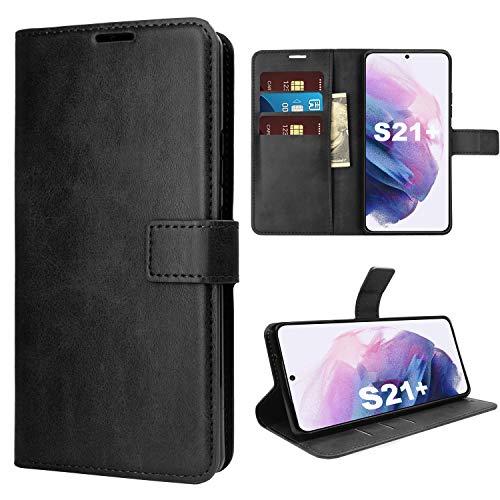 KUAO Funda para Galaxy S21 Plus, Samsung Galaxy S21 Plus 5G, funda con tapa, ultrafina, de piel sintética, color negro, con función atril, ranuras para tarjetas, cierre magnético
