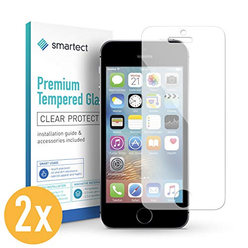 smartect Panzerglas kompatibel mit iPhone SE 2016/5 / 5s / 5c [2 Stück] - Displayschutz mit 9H Härte - Blasenfreie Schutzfolie - Anti Fingerprint Panzerglasfolie